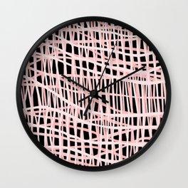 Net Blush on Black Wall Clock