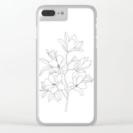 Minimal Line Art Magnolia Flowers Clear iPhone Case