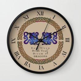 Eat, Sleep, Tea & Dragons Wall Clock