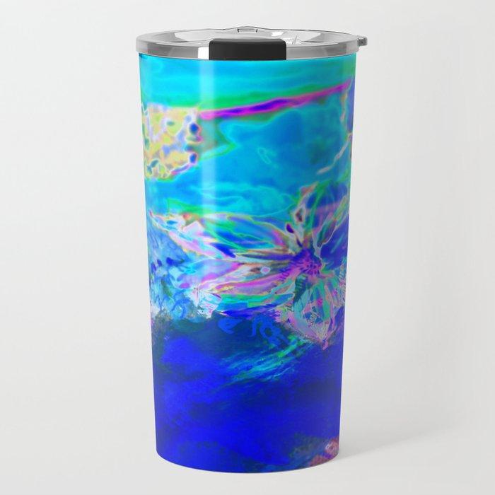 Tropical Electric Blue Abstract Digitally Enhanced Painting Photograph Travel Mug