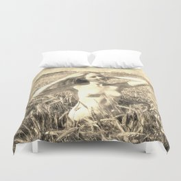 Vintage Beauty of Nature  - erotic photography rework, sexy topless girl at field, kinky nude posing Duvet Cover