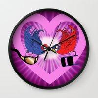 wrestling Wall Clocks featuring Wrestling love Birds  by Los Espada Art