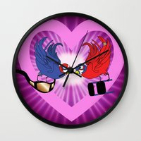 wrestling Wall Clocks featuring Wrestling love Birds  by Silver Angel Gallery