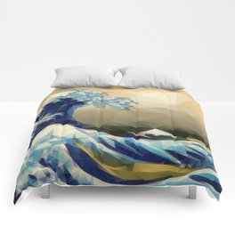 The Great Wave Off Kanagawa in Triangles Comforters