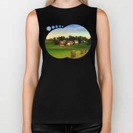 Hay bales and country village   landscape photography Biker Tank