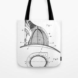 Firemans Helmet Patent - Fireman Art - Black And White Tote Bag