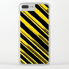 Black and Yellow Banner Clear iPhone Case