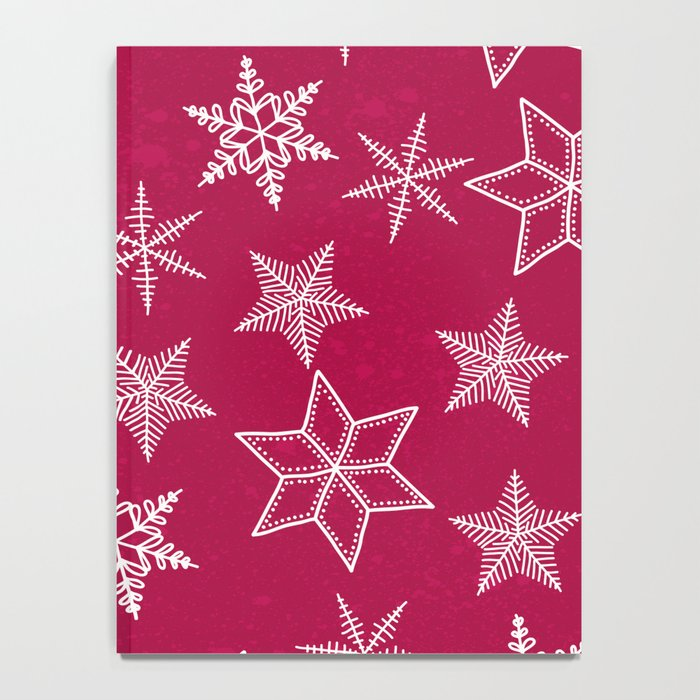 Snowflakes on red background Notebook