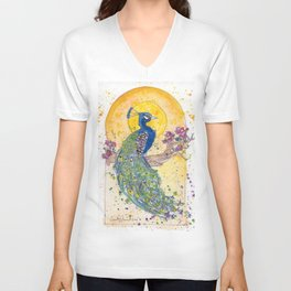 Peacock in the Sun Unisex V-Neck