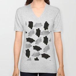 Black faux silver modern abstract brushstrokes Unisex V-Neck