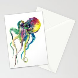 Octopus design, Tropical Colors Beach, yellow red blue green Stationery Cards