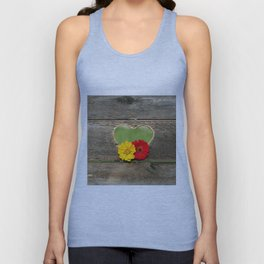 Wooden Heart with Flowers Unisex Tank Top
