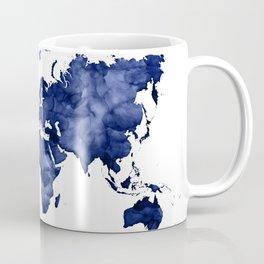 Dark navy blue watercolor world map Coffee Mug