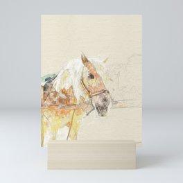 art drawn horse Mini Art Print