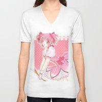 madoka V-neck T-shirts featuring Madoka  by Phadme