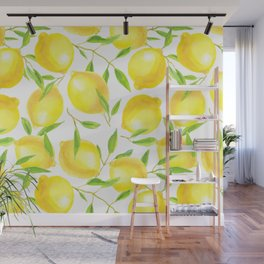 Lemons and leaves  pattern design Wall Mural
