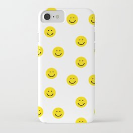Smiley faces white yellow happy simple smiley pattern smile face kids nursery boys girls decor iPhone Case