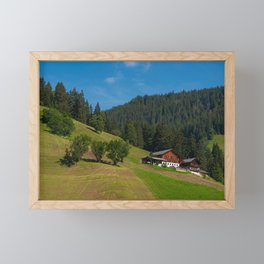 Summer landscape with mountain hut surrounded by greenery Framed Mini Art Print