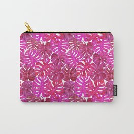 Pink Coral Palm Leaf Print Carry-All Pouch
