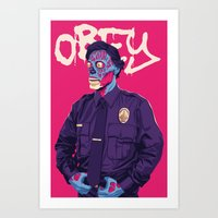 obey Art Prints featuring OBEY by Mike Wrobel