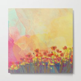 Watercolor Field of Flowers Metal Print