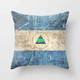 Vintage Aged and Scratched Nicaraguan Flag Throw Pillow