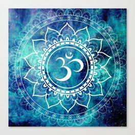 Galaxy Om Mandala Aqua Midnight Blue Canvas Print