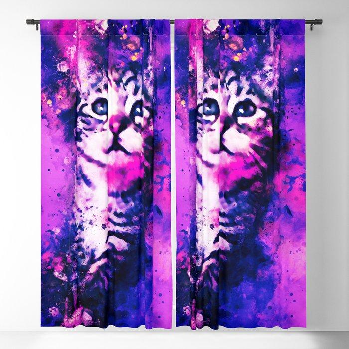 pianca baby cat kitten splatter watercolor purple pink Blackout Curtain