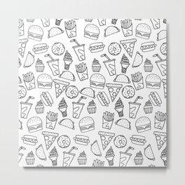 Fast Food Monoline Doodles Metal Print