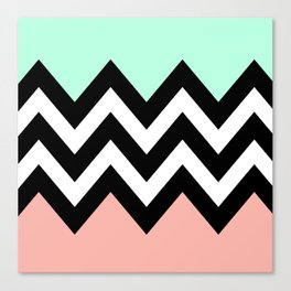 DOUBLE COLORBLOCK CHEVRON {MINT/CORAL/BLACK} Canvas Print