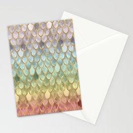 Rainbow Marble Mermaid Scales Stationery Cards