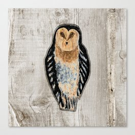 Primitive Owl Graphic Carved Wood Board Canvas Print