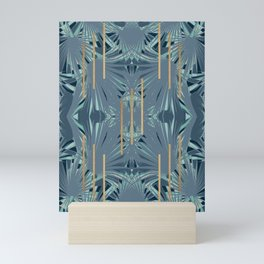 Tropical Art Deco 1.1a Blue, Green, Gold Mini Art Print