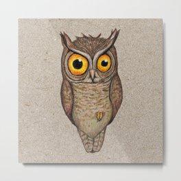 Great horned owl on cardboard Metal Print
