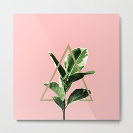 Ficus Elastica Geo Finesse #1 #tropical #foliage #decor #art #society6 Metal Print