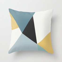 Broken Glass, blue & yellow, abstract graphic Throw Pillow