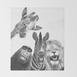 Black and White Jungle Animal Friends Throw Blanket