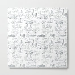 Oakland Hills Toile Metal Print