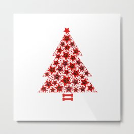 Christmas tree made of red stars with paw prints Metal Print