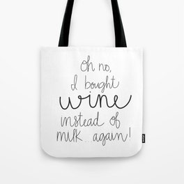 I Bought Wine Instead of Milk Tote Bag