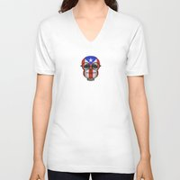 puerto rico V-neck T-shirts featuring Baby Owl with Glasses and Puerto Rican Flag by Jeff Bartels