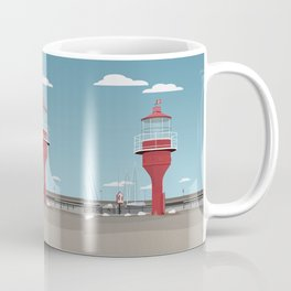 The lighthouse in the harbour in Skanor - light Coffee Mug