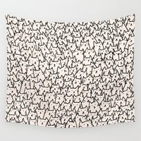pencil Wall Tapestries featuring A Lot of Cats by Kitten Rain