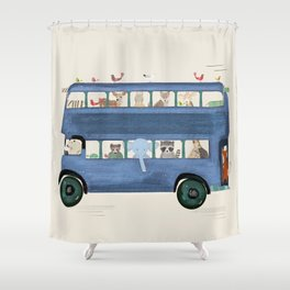 the big blue bus Shower Curtain