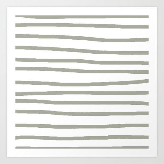 Simply Drawn Stripes Retro Gray on White Art Print