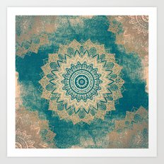 GOLD BOHOCHIC MANDALA IN GREENS Art Print
