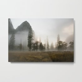Yosemite Valley in Fog Metal Print