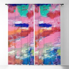 Lucky #13, a contemporary abstract in pinks and fuchsias Blackout Curtain