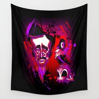 edgar allan poe Wall Tapestries featuring Edgar Allan Poe Caricature by Eileen Marie Art
