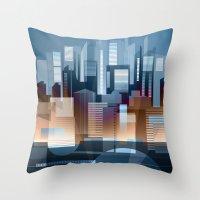 metropolis Throw Pillows featuring Metropolis by Herb Vaine